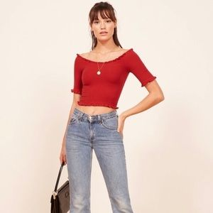Reformation Augustine Top in Cherry